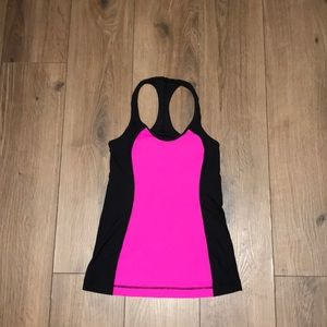 Black and pink lululemon workout top